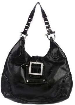 Tory Burch Patent Leather-Trimmed Hobo - BLACK - STYLE