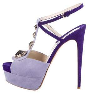 Brian Atwood Studded Suede Sandals