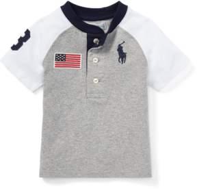 Ralph Lauren | Cotton Jersey Henley Shirt | 18-24 months | Gray