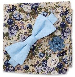 Original Penguin Baddley Solid Pre-Tied Bow Tie, Floral Pocket Square, & Dot Lapel Pin Box Set
