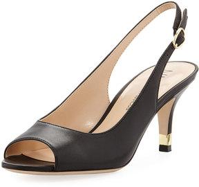 Neiman Marcus Ursalla Peep-Toe Slingback Sandal