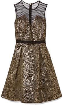 Draper James Kara Pleated Metallic Jacquard And Swiss-dot Tulle Dress - Black