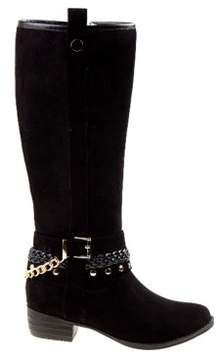 KensieGirl Kids' Studded Knee High Riding Boot Pre/Grade School