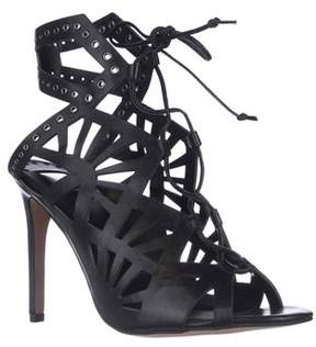 Dolce Vita Helena Cut-out Lace-up Dress Sandals, Black Leather.