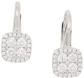 Frederic Sage 18K White Gold Diamond Firenze Small Cushion Polished Bale Earrings