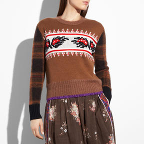 Coach Leaf Plaid Sweater