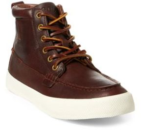 Ralph Lauren Tavis Leather High-Top Sneaker Tan 10.5