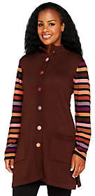 Bob Mackie Bob Mackie's Striped Sleeve Multi-colorSweater Jacket