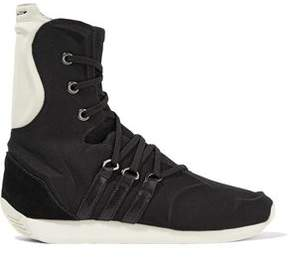 Y-3 + Adidas Originals Yy Femme Suede And Leather-Trimmed Canvas Ankle Boots