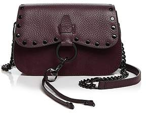 Rebecca Minkoff Keith Small Leather and Nubuck Saddle Bag - BLACK/SILVER - STYLE