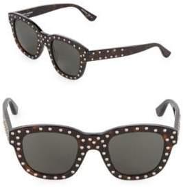 Saint Laurent 48MM Square Tortoiseshell Stud Sunglasses