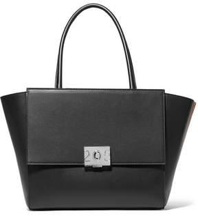 Calvin Klein Bonnie Large Grosgrain-trimmed Leather Tote - Black