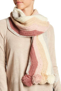 BCBGMAXAZRIA Crochet Stripe Pom Muffler Scarf