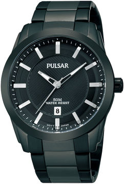 Pulsar Mens Black Ion-Plated Bracelet Watch PH9017