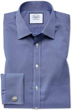 Charles Tyrwhitt Classic Fit Non-Iron Puppytooth Royal Blue Cotton Dress Shirt French Cuff Size 15/33