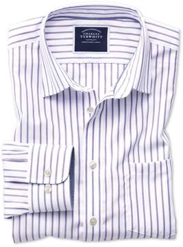 Charles Tyrwhitt Classic Fit Non-Iron Oxford White and Lilac Stripe Cotton Casual Shirt Single Cuff Size Large