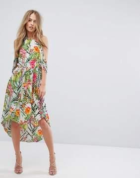 Adelyn Rae Lianna Hi-Low Printed Cold Shoulder Dress