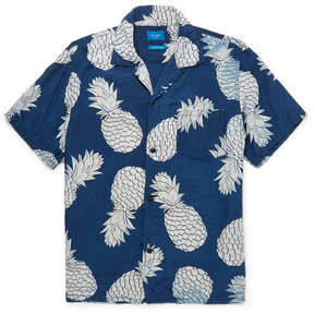 Beams Aloha Camp-Collar Pineapple-Print Voile Shirt