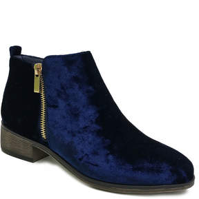 Bamboo Navy Velvet Saber Ankle Boot - Women