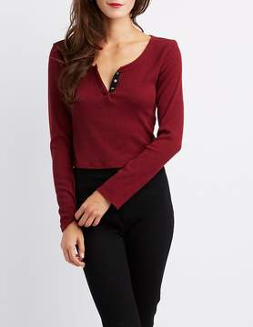 Charlotte Russe Ribbed Hacci Henley Crop Top