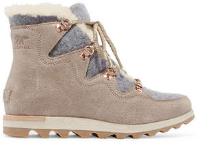 Sorel Sneakchic Alpine Shearling-lined Felt And Suede Ankle Boots - Mushroom