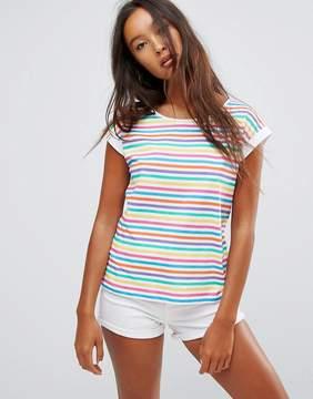 Esprit Stripe Slogan Sleeve T-Shirt