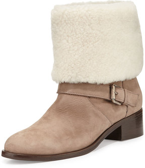 Delman Minka Fur-Cuff Moto Boot, Off White