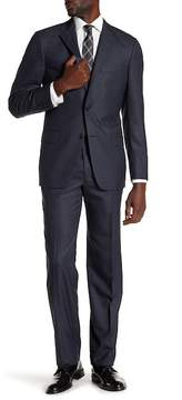 Hickey Freeman Blue Tonal Plaid Tow Button Notch Lapel Wool Classic Fit Suit