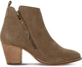 Dune Ladies Dark Taupe Modern Pontoon Leather Ankle Boots