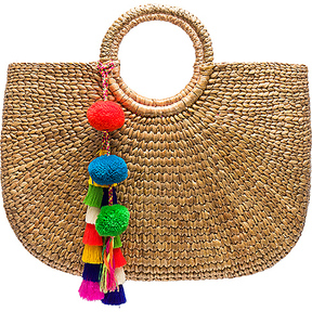 JADEtribe Round Basket Tote in Beige.