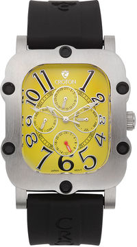 Croton Mens Yellow Dial and Black Strap Watch