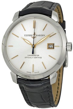 Ulysse Nardin Classico Silver Dial Black Leather Men's Watch 8153-111-2-90