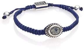 King Baby Studio Men's Turquoise & Sterling Silver Macramé Slide Bracelet