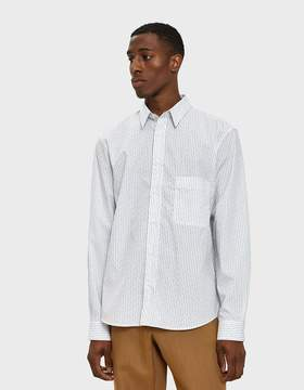 Lemaire Straight Collar Shirt in Black/White