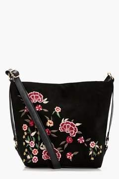 boohoo Rosie Embroidered & Stud Bucket Cross Body