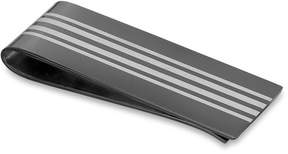 Zales Men's Striped Black IP Stainless Steel Money Clip