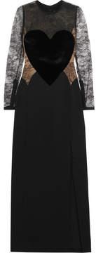 Elie Saab Velvet-appliquéd Lace And Crepe Gown - Black