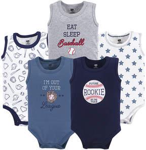 Hudson Baby Blue Baseball Sleeveless Bodysuit Set - Infant