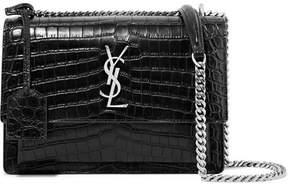 Saint Laurent Sunset Medium Croc-effect Leather Shoulder Bag - Black - BLACK - STYLE