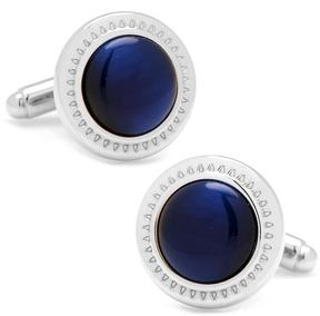 Ice Navy Blue Catseye Etched Border Cufflinks
