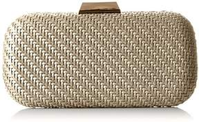La Regale Faux Leather Woven Minaudiere Clutch