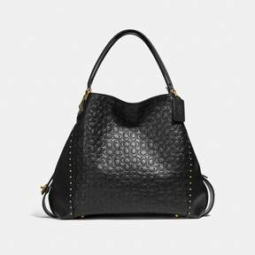 COACH COACH EDIE SHOULDER BAG 42 IN SIGNATURE LEATHER WITH RIVETS - BLACK/BRASS