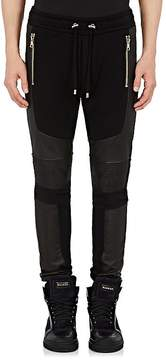 Balmain Men's French Terry & Leather Moto Jogger Pants