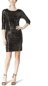 Jessica Howard Three Quarter-sleeve Sequin Sheath Dress.