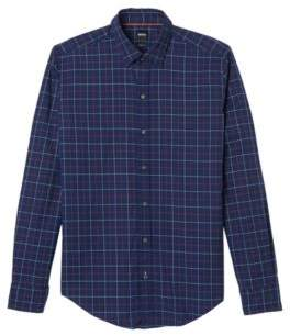 BOSS Hugo Plaid Cotton Sport Shirt, Sharp Fit Robbie XL Orange