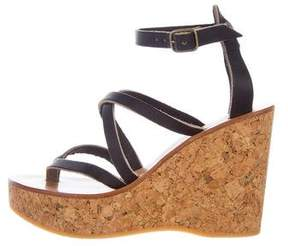 K Jacques St Tropez Leather Platform Wedges