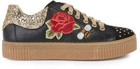 MonnaLisa Embroidered leather trainers