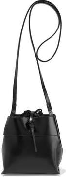 Kara Nano Tie Glossed-Leather Shoulder Bag