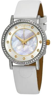 Akribos XXIV Mother of Pearl Dial White Leather Ladies Watch