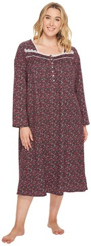 Eileen West Plus Size Jersey Ballet Long Sleeve Nightgown Women's Pajama